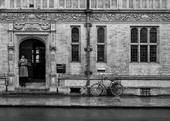 Ruskin School of Art Oxford (V Photography and Art) Tags: street windows bicycle standing student university watching stainedglass doorway oxford leaning