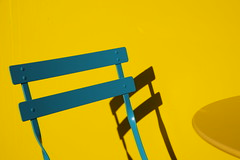 Complimentary (The Green Album) Tags: colour yellow contrast table cafe chair graphic bright teal shapes simplicity cheerful minimalist bold complimentary