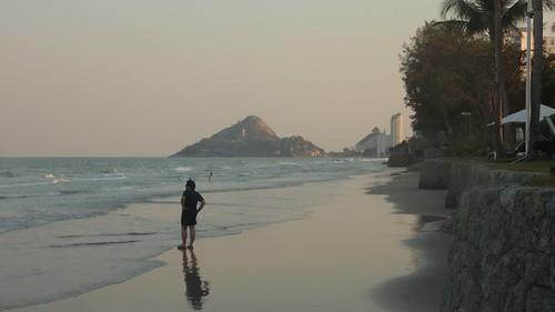 Sunset time lapse on hua hin beach Thailand