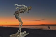 Diving in at Hokitika (Myreality2) Tags: sunset newzealand beach sand driftwood southisland westcoast sculptures hokitika coollittletown