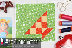 gnomeangel-farmers-wife-1930-block-40-grandmother-fqs (gnomeangel) Tags: modern quilt quilting patchwork tutorial farmerswife fussycutting gnomeangel fussycuttersclub farmerswife1930
