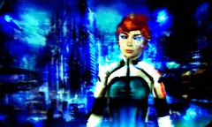 Pil'Up   (Virtuaroid Resident) Tags: blue distortion cutie redhead adventure gravity armor scifi cyber eyecandy pileup dystopia