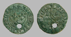 French Jetton 15th C (2008) (Ks Ed) Tags: england metal norfolk historic detector historical shield fleurdelis dug artifact find relic excavated heraldic detecting jetton