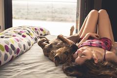 An ordinary morning (neus_oliver) Tags: morning portrait woman dog sun selfportrait maana me girl sunrise bed bedroom day yo sunny perro amanecer cama autorretrato pijamas pijama selfie