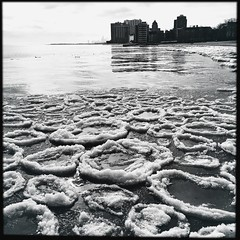 iced circles (A.Azul) Tags: winter blackandwhite bw ice water landscape circles iced rogerspark aazul hipstamatic hipstography