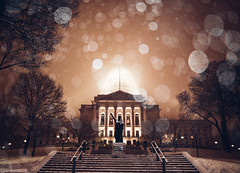 illuminating the snow (almostsummersky) Tags: city trees winter snow building statue wisconsin architecture stairs us downtown unitedstates columns steps snowstorm capitol madison dome government snowing forward capitolsquare
