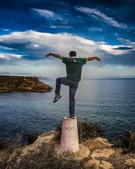 Sea power (52weeks2016#05 - Up) (ponzoosa) Tags: sea beach azul mar mediterraneo playa murcia saturado cala nudismo piedras equilibrio mazarrn 52weeks bolnuevo calnegre