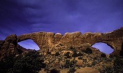 The Spectacles (South Window Arch & North Window Arch) (woodchuckiam) Tags: cliff color rock landscape utah sandstone arch scenic arches trail fin archesnationalpark spectacles rockformation northwindowarch southwindowarch windowssection thespectacles woodchuckiam southandnorthwindowarches