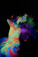 _DSC7382 (an Artist Without Art) Tags: wood light black flower girl beauty butterfly dark disco saturated model glamour neon pretty bright uv avatar alien creative makeup vivid posing bodypaint dreaming glowinthedark ecstasy facepaint cosmetics dreamlike ultraviolet brasilian fluo aesthetics phosphorescent uvglow larrygelmini