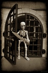 Who´s knockin´? (VintageReflection) Tags: welcome dungeon cutlass swashbuckler haunted house tales from toy box happy halloween spooky castle 2016 geister burg gespenst gespenster ghost ghosts burgruine ruine geisterschlos geisterschloss retrotwin lostillusion75 skeleton skelett skelette gerippe bones skull bone knochen toys spielzeug scary skelly playmobil lighthouse kerker verlies leuchtturm poseskeleton hito1 pose plastic figure figur rement samsung galaxy s4 zoom texture omatic scale calavera