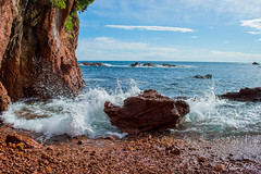 Red rock (Photo-LRC) Tags: ocean red sea mer beach nature rocks eau wave explore splash paysage vague plage calme esterel ocan galet exterieur crique
