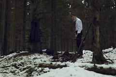 The first one (Jacob Thornas) Tags: light brown snow cold color green forest dark nikon moody emotion killing sweden fineart sniper murder conceptual nikkor dressed fineartphotography conceptualphotography