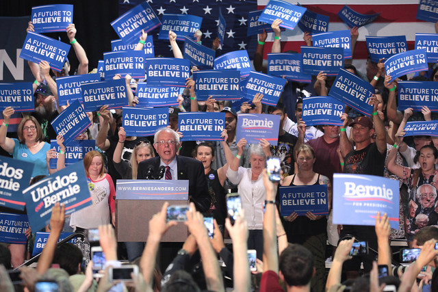 Bernie Sanders with supporters