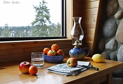 The Pleasure of Country Life (Esther Spektor - Thanks for 12+millions views..) Tags: blue red stilllife brown white reflection tree green apple window water glass lamp yellow stone wall tangerine fruit composition rural canon table grey wooden lemon ceramics view linen availablelight interior country knife stilleben towel bowl frame citrus bodegon naturemorte naturamorta naturezamorta creativephotography artisticphoto estherspektor