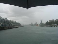 Finger Wharf and Garden Island, Woolloomooloo (pellethepoet) Tags: rain umbrella sydney australia woolloomooloo newsouthwales sydneyharbour gardenisland woolloomooloobay fingerwharf