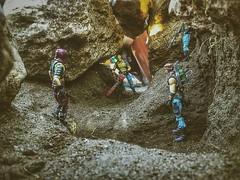 Dreadnoks dare to enter first... (shefner77) Tags: nature gijoe toys outdoors rocks cobra torch actionfigures cave buzzer ripper zartan mercenary dreadnoks