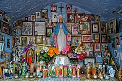 1377 c (queenbeaphoto@att.net) Tags: flowers religious memorial shrine candles remember mary pray saints mining altar angels offering rosary blessedmother melissafrybeasley