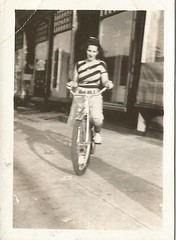 girl's bike (912greens) Tags: girls stripes bikes bicycles 1940s storefronts stores streetscenes streetviews folksidontknow