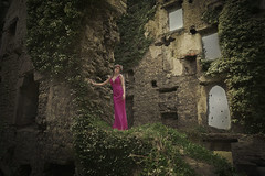 Queen of the castle (Michelle Hughes Walsh Photography) Tags: pink sky green castle girl stone dark photography model ruins moody dress outdoor posing ivy garland