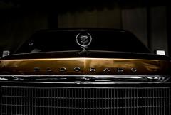 Golden Eldorado (relishedmonkey) Tags: lighting old classic lines car 35mm reflections logo golden design nikon dubai pattern moody symbol outdoor head uae front minimal cadillac eldorado vehicle motor 18g d5300 emiratesclassiccarshow2016