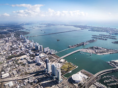 Morning Departure (LifeLover4) Tags: clouds islands florida miami bridges aerial miamibeach windowseat biscaynebay aacom stickneydesign