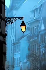 Colmar, France (Wackelaugen) Tags: street blue houses light orange france canon photography eos photo europe colmar explore lantern googlies explored wackelaugen