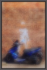 Ghost Rider (Note-ables by Lynn) Tags: brickwall motorcycle photoborder