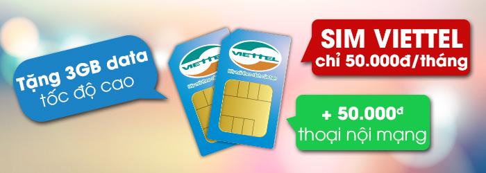 Sim Viettel chỉ 50.000đ/tháng nhận 3GB data & 50.000đ thoại nội mạng