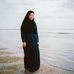 Wife (rifqi dahlgren) Tags: portrait woman film beach analog mediumformat indonesia muslim hijab 80mm balikpapan hasselblad500cm strobist kodakektar100