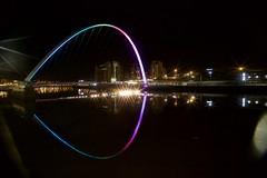 Eye (night watch1) Tags: street bridge light reflection eye water night dark star mirror high still image tyne quay promenade slack burst calme tyde