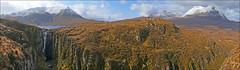 Assynt Panorama (McRusty) Tags: blue sky panorama cloud white waterfall na sail gorge loch widow cascade glas gorm wailing assynt quinag bheinn canisp gharbh spidean coinich gainmich