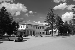 Dom kulture, Alibunar (Sareni) Tags: auto road old trees windows light sky blackandwhite bw tree grass car clouds buildings spring shadows drum branches serbia center april kola put vojvodina twop srbija nebo banat 2016 drvo trava prolece svetlost staro centar oblaci granje drvece senke prozori alibunar crnobela domkulture juznibanat sareni