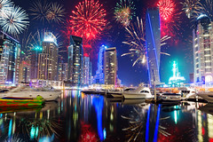 New Year fireworks display in Dubai, UAE (tnilsson.london) Tags: new city eve travel sea sky urban holiday reflection tower tourism water skyline architecture night skyscraper marina buildings landscape lights bay coast persian high colorful asia dubai cityscape exterior gulf display dusk united year uae landmark firework illuminated arabic east celebration emirates event arab arabia destination metropolis tall middle unitedarabemirates futuristic