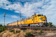 Colorado Blue Skies (Nolan Majcher) Tags: blue up train centennial colorado skies post pacific union denver days co locomotive frontier cheyenne e9 greeley emd e9a e9b dd40ax
