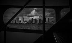 in the ferry (efrainsalvadorjr) Tags: blackandwhite zeiss lightroom sandiegoskyline carlzeiss biogon sandiegoharbor sonyalpha a7r biogon28mm blackandwhitepics mflens sandiegoferry sonya7r