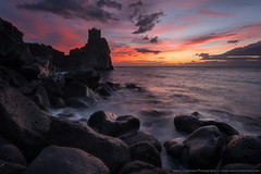 Morning flames (Marco Calandra Photography) Tags: ocean morning red sea sky seascape tower beach water clouds sunrise fire rocks italia flames it sicilia acireale santatecla