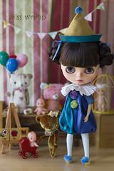 silk circus - blue balloon (JennWrenn) Tags: doll sweet silk meredith blythe custom pompoms romper goldenslippers clownsuit ruffledcollar lorshekmolseh