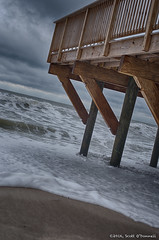 Sea Foam (scottnj) Tags: ocean storm water clouds pier seaside newjersey waves nj dramatic shore jersey boardwalk pilings piling jerseyshore stormsurge seafoam dutchangle seasideheights dutchtilt 365project 40366 scottnj cy365 scottodonnellphotography redditphotoproject