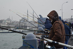 DSC_1683 (zeynepcos) Tags: bridge winter snow man cold fishing fisherman outdoor istanbul mosque galata karakoy eminonu