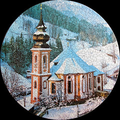 Heiligenblut, Austria (it says on the box), but apparently not so! (pefkosmad) Tags: trees snow mountains church austria village scene hobby puzzle round leisure jigsaw circular pastime heiligenblut waddingtons