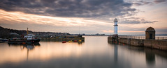 Newhaven Harbour Golden Hour (roseysnapper) Tags: longexposure sea sky cloud lighthouse seascape water landscape harbor scotland boat edinburgh waterfront harbour serene fishingboat buoy goldenhour firthofforth lightroom wwb newhavenharbour inexplore abigfave niksoftware nikond810 nikkor1424f28
