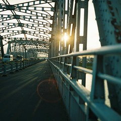 Will Change_1_ 018 (Kahori YAGI_Kahoring) Tags: bridge light sunset shadow sunlight 120 film zeiss square fuji jena medium pentacon p6 pentaconsix arax fujicolor czj carlzeissjena biometar pro400