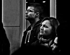 Grafton Street I (Owen J Fitzpatrick) Tags: republicofireland tamron ojf people photography nikon fitzpatrick owen j joe street pavement chasingpavement chasing gaze editorial use only ojfitzpatrick woman hair attractive female eire crowd visage republic city candid beautiful face beauty scarf spectator girl d3200 pretty audience ireland gazing look looking mono monochrome bw blackwhite black white man male glasses profile grafton one 1 i uno candidphoto candidphotography candidportrait unposed natural blancoynegro pretoebranco schwarzundweis  hiybi  hi y bi blackandwhite