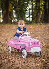 Isabel & The Pink Lady Coupe (crashmattb) Tags: girl car toy outdoors 50mm kid toddler florida daughter odessa february lightroom pedalcar 2016 canonef50mmf18ii niftyfifty canon70d isabelrose