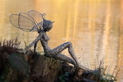 Just love tranquility (jeannie debs) Tags: england sculpture art love statue wire tranquility fairy