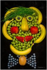 Mr. Fruit is ready for dinner... (Dagmar' s Fotos) Tags: color colour green rot yellow fruit gelb grn blau beeren trauben obst nikkor1685mm nikond5200