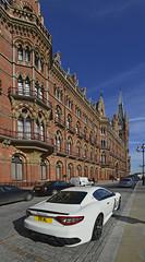 Flash car, flash building ! . (Alan Burkwood) Tags: london station hotel stpancras maserati
