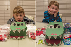 Valentine Box - Before and After (aaronrhawkins) Tags: school holiday students kids children day message candy classroom joshua box treats classmates alligator before class gift pile valentines after treat elementary valentinesday hawkins aatonhawkins