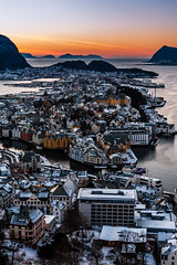 Ålesund (Petur 'Wazhur' Jonsson) Tags: ocean city winter sunset urban snow cold nature norway canon landscape photography eos norge town photo dusk fjord efs f28 ålesund lightroom 30d aalesund 1755 themagichour