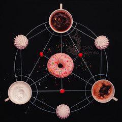 Sweet alchemy of cooking (Dina Belenko) Tags: food black cooking coffee breakfast circle recipe table chalk milk tea drink sweet geometry magic creative tasty science fromabove marshmallow learning tribute copyspace draw splash process chalkboard blackboard highspeed khabarovsk alchemy ingredient fma frozenmotion